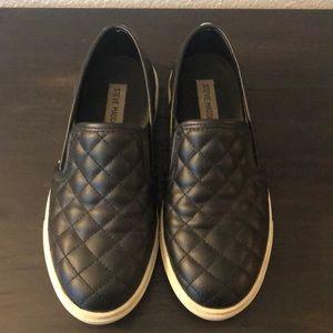 Steve Madden Black Quilted Slip-on Sneakers